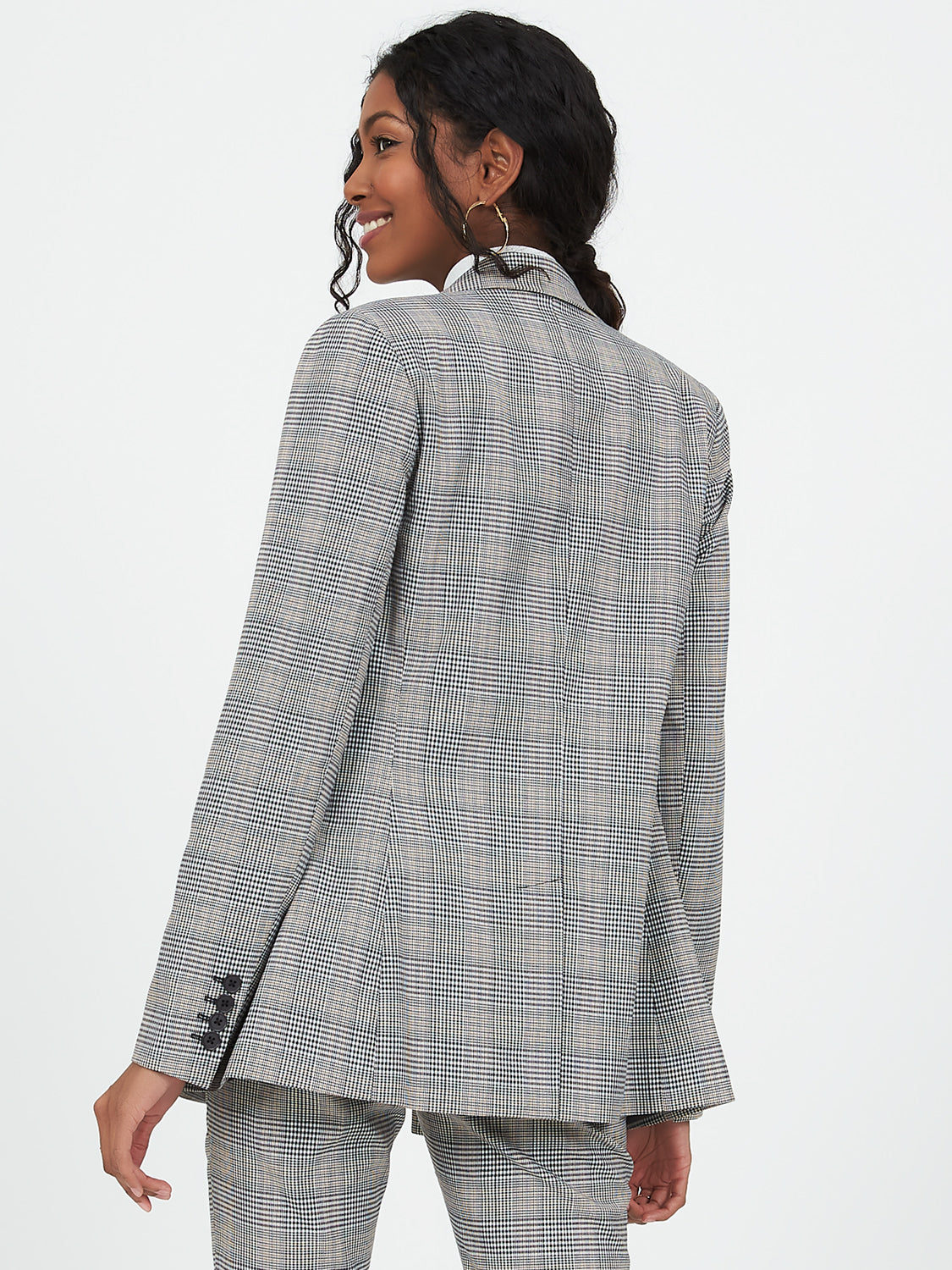 Double Breasted Notch Collar Plaid Blazer
