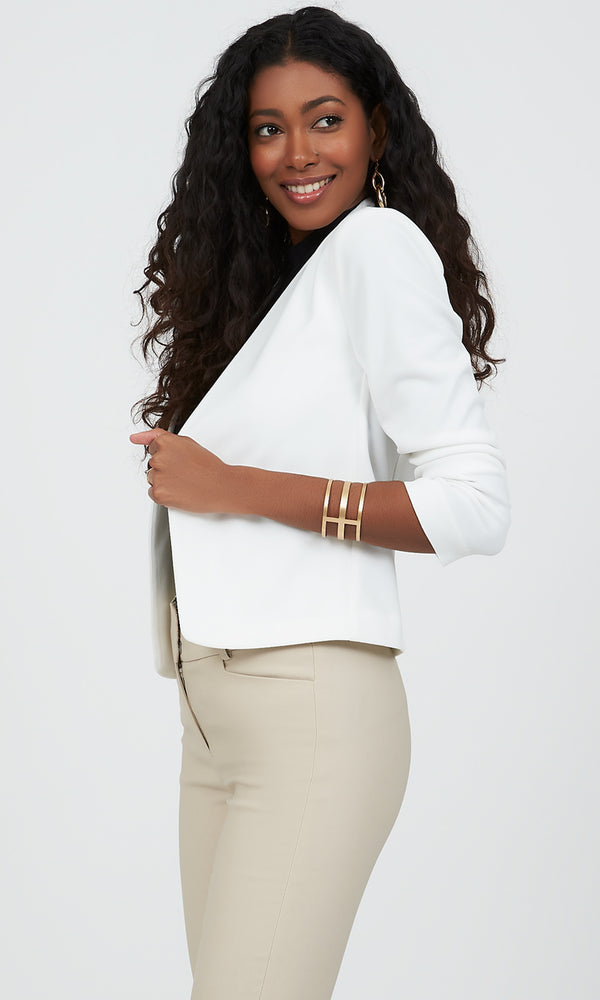 ¾ Ruched Sleeve Collarless Cropped Blazer