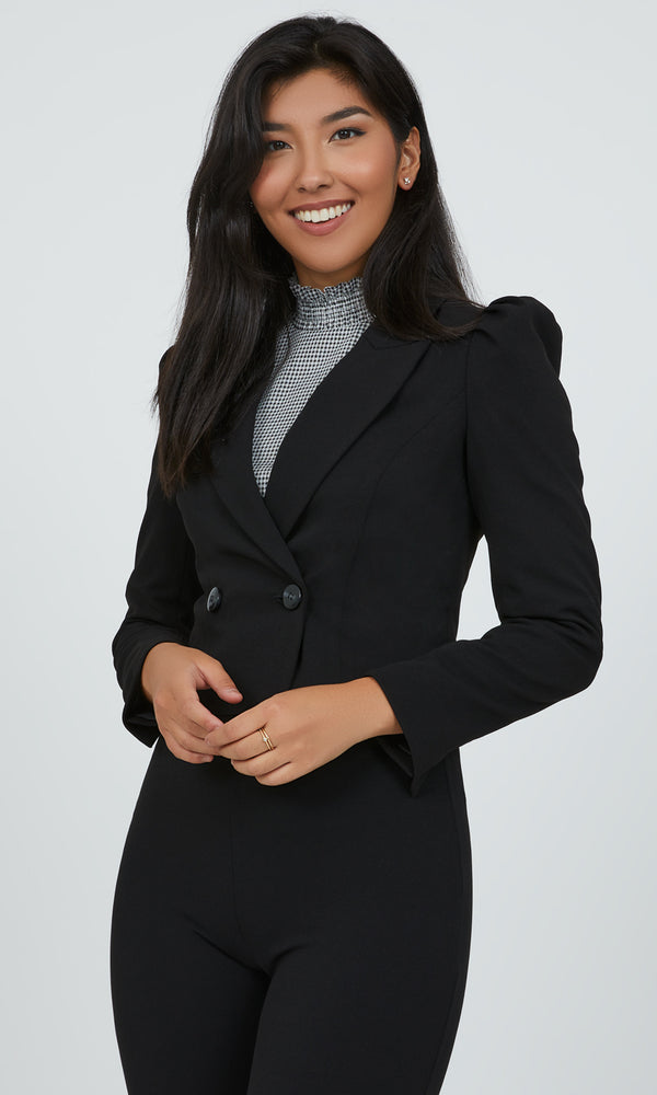Pleated Puffed Sleeve Cropped Blazer