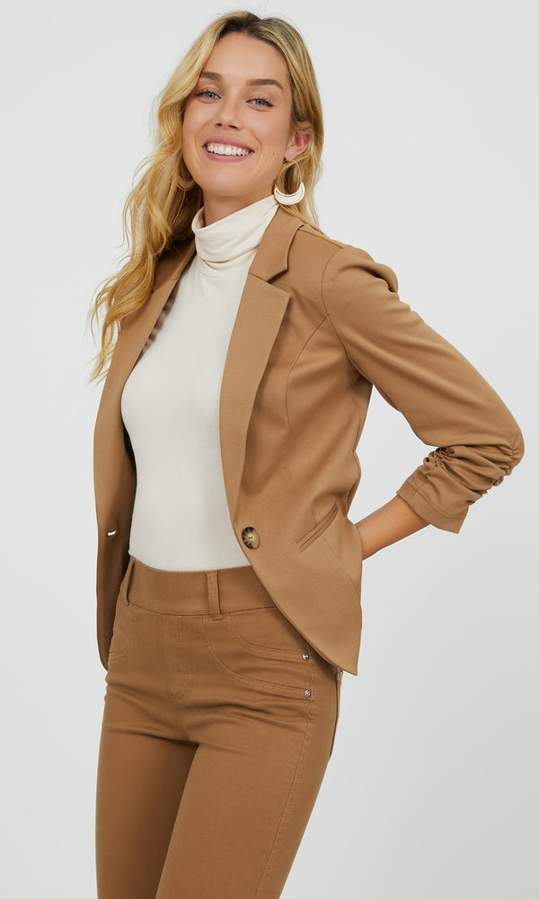 Ruched Sleeve Knit Blazer