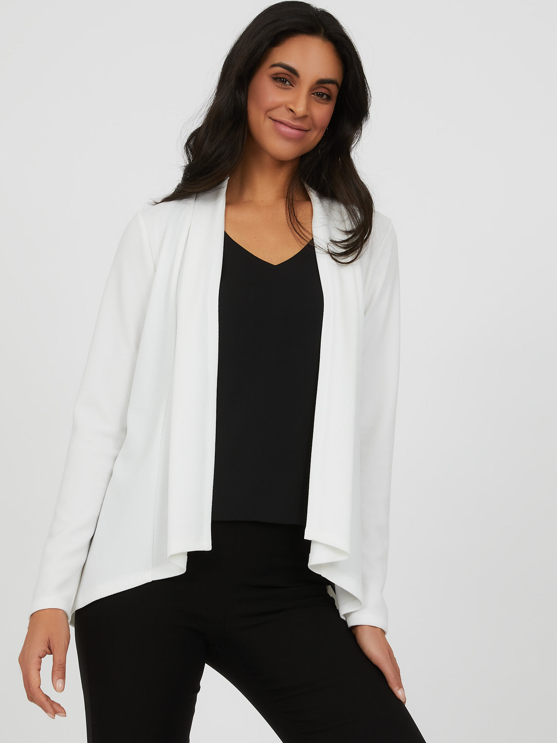 Long Sleeve Open Front Woven Blazer