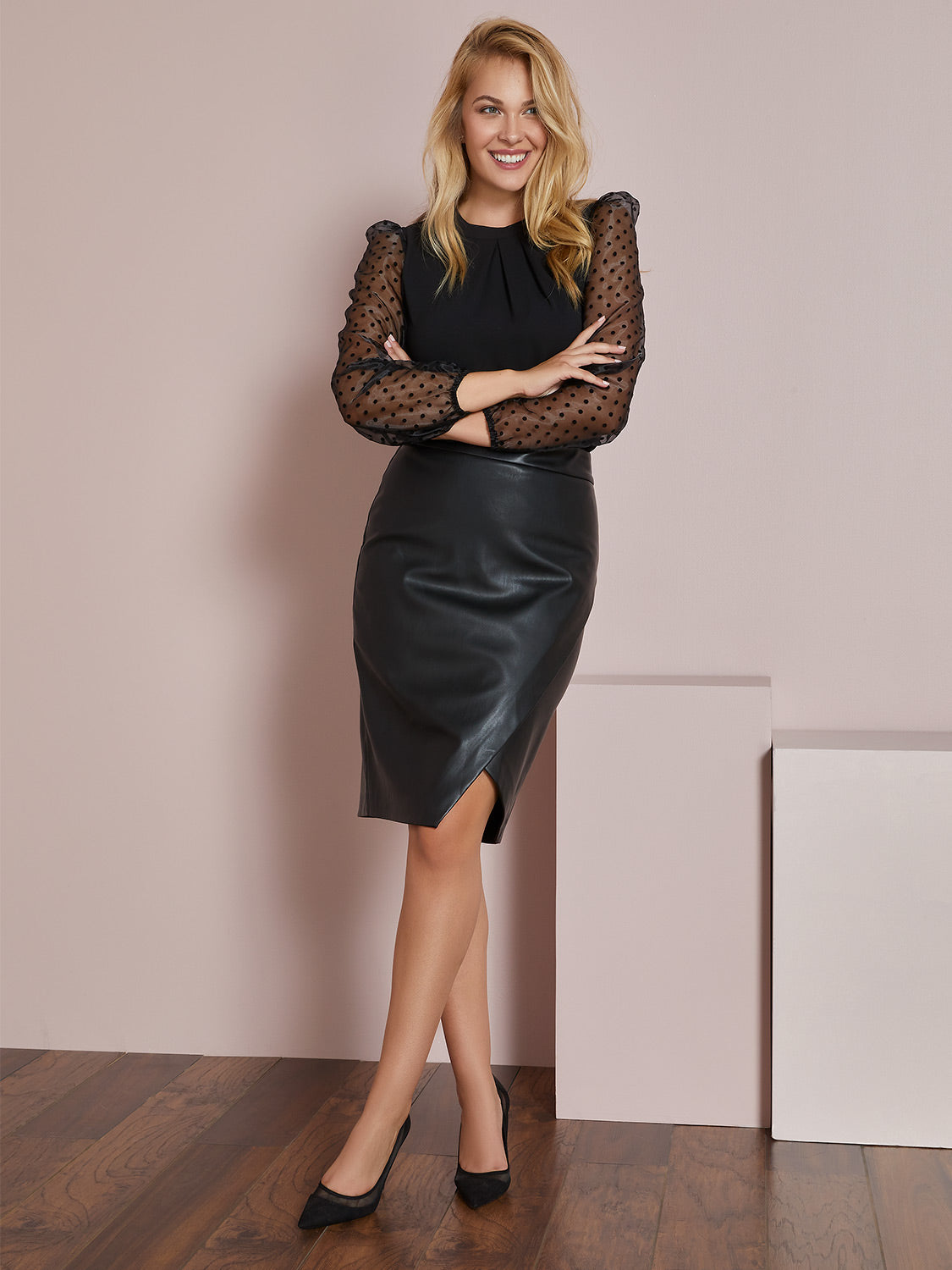 Faux Leather Midi Tulip Skirt