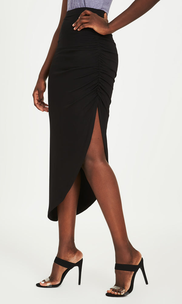 Shirred Asymmetrical Knit Skirt
