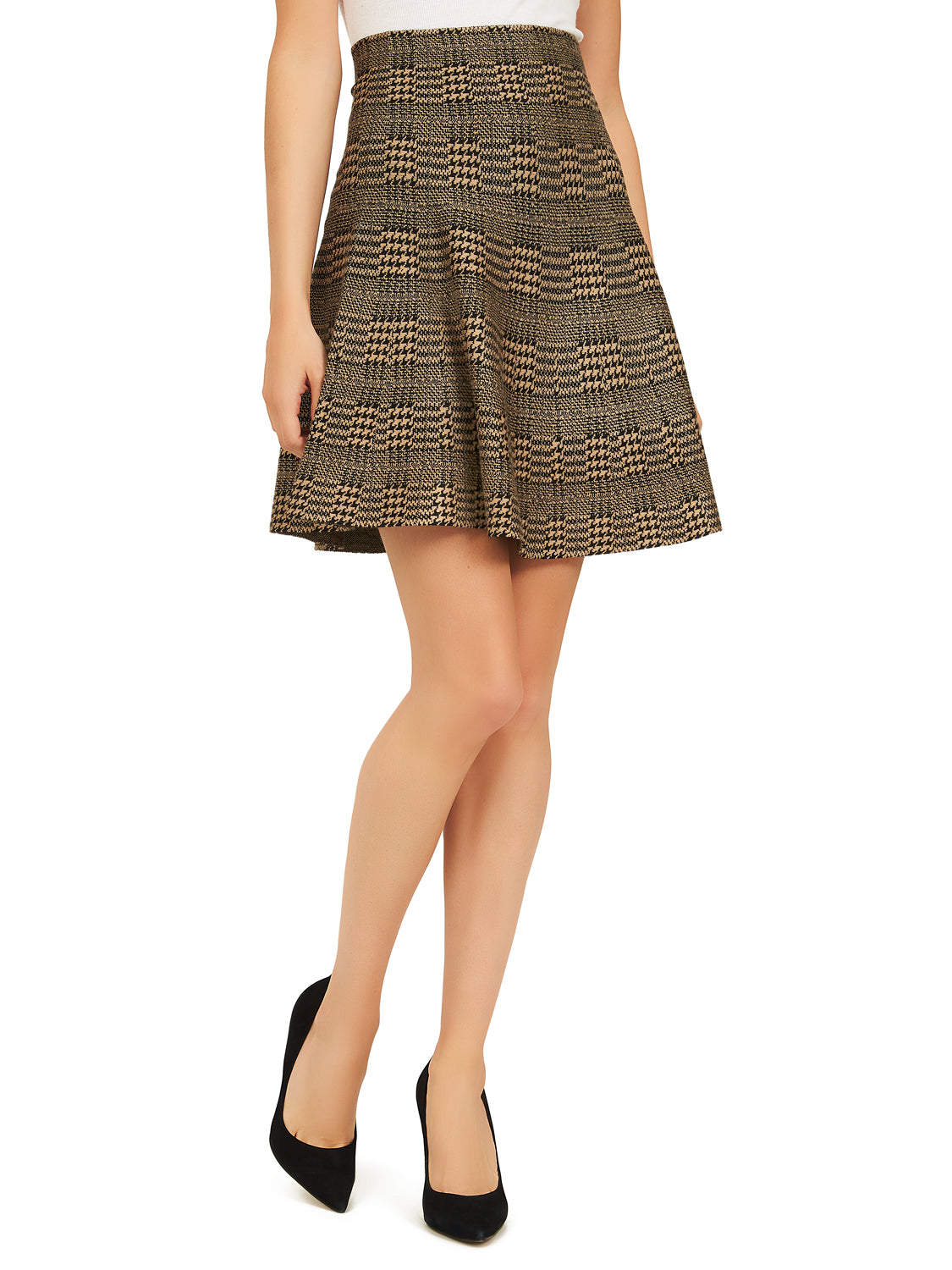 Houndstooth Flippy Sweater Knit A-Line Skirt