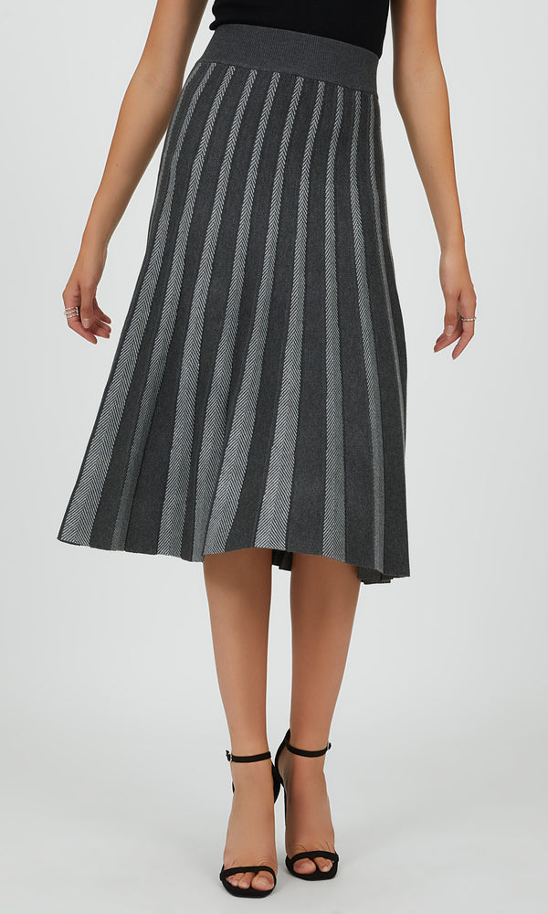 Pleated Sweater Knit Midi Skirt
