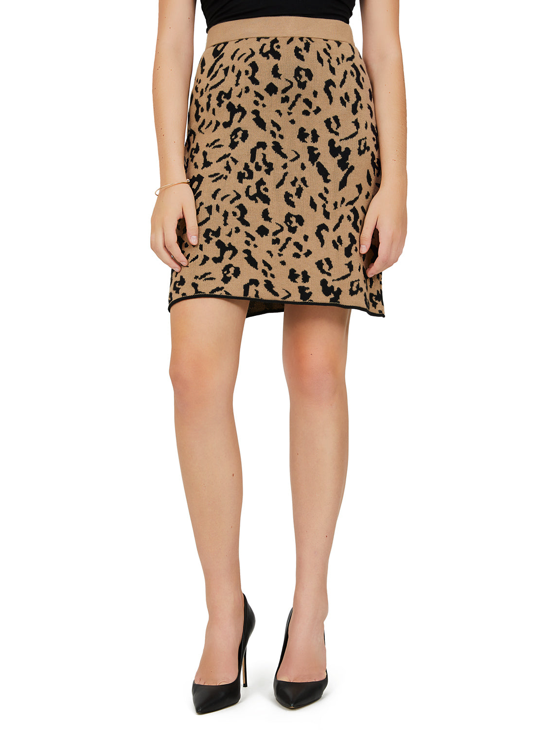 Leopard Print Sweater Knit Mini Skirt