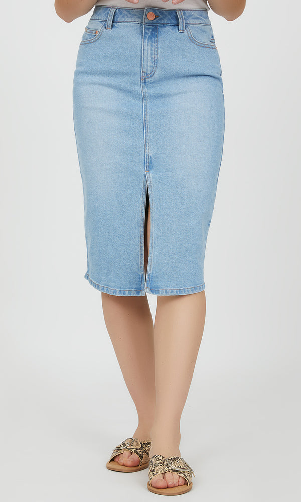Front Slit High Rise Denim Skirt