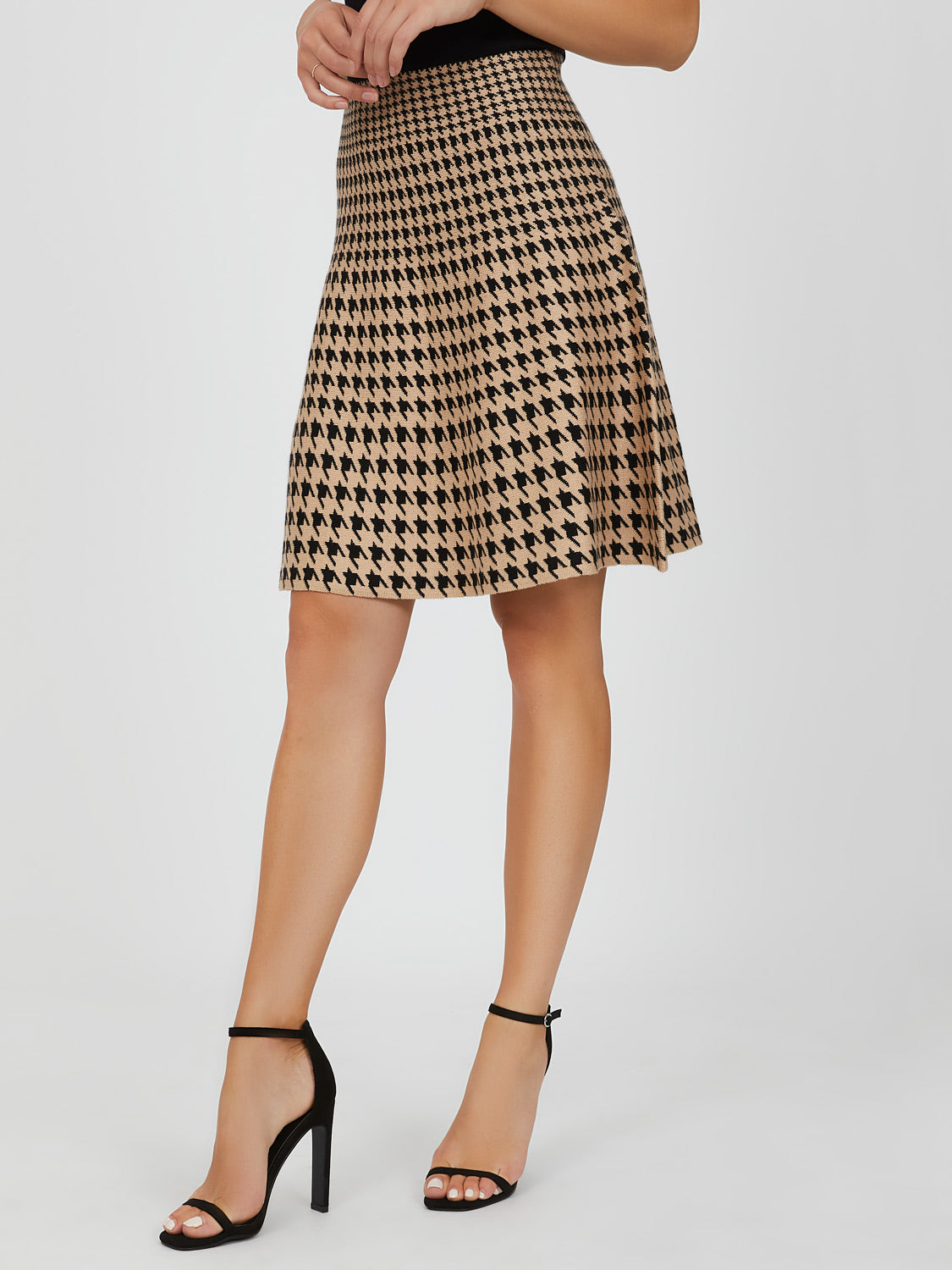 Sweater Knit Houndstooth Midi Skirt