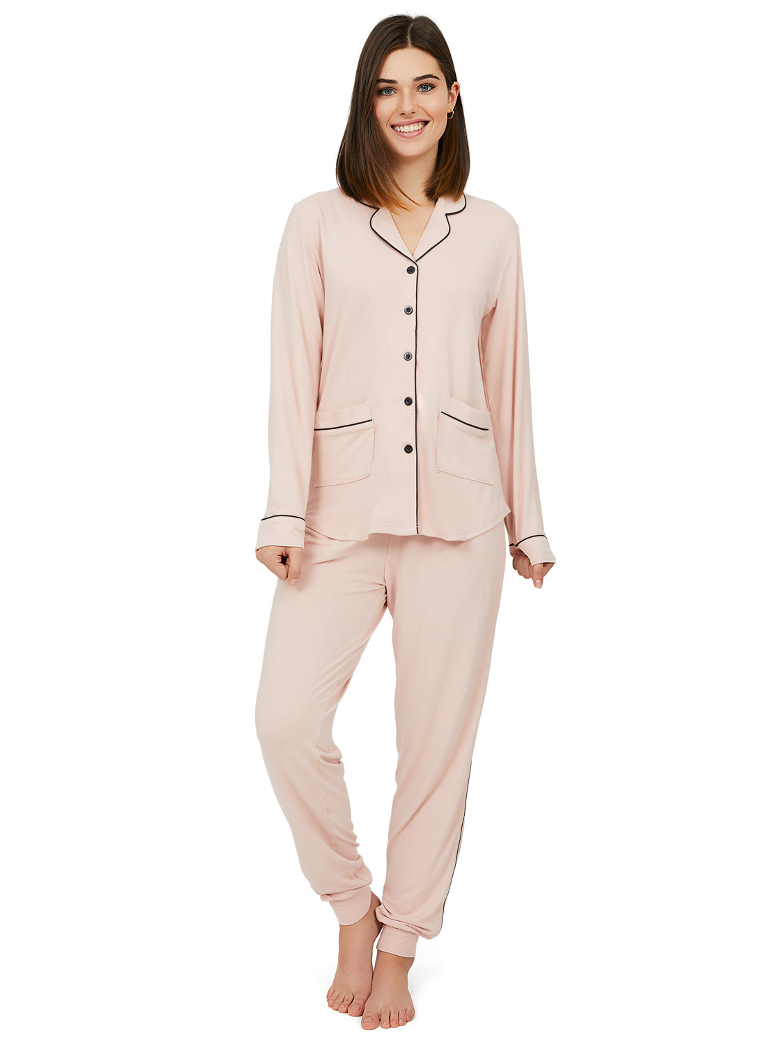 2-Piece Shirt Collar Pyjama Set