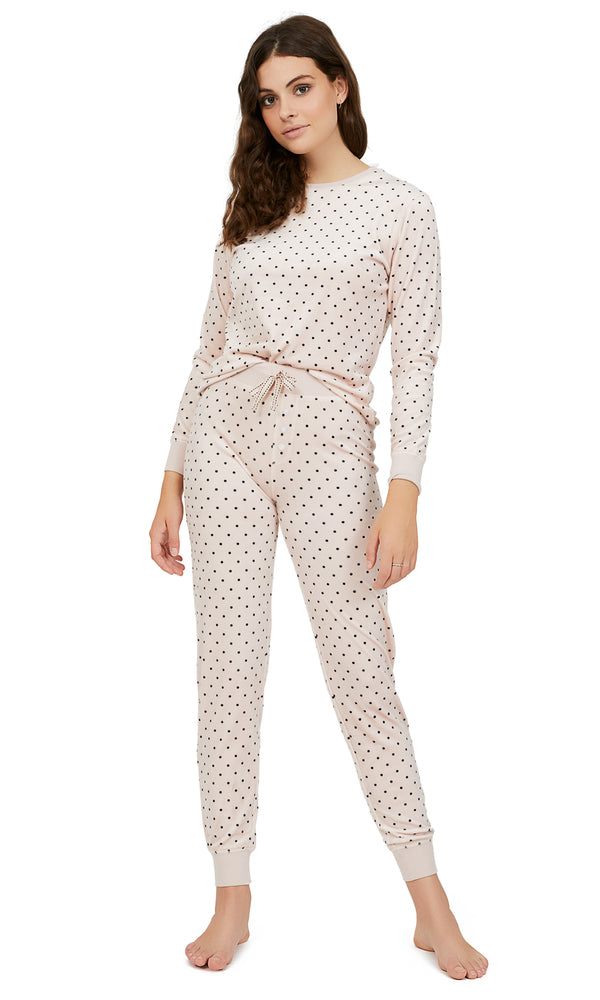 2-Piece Mini Dot Print Velour Pyjama Set