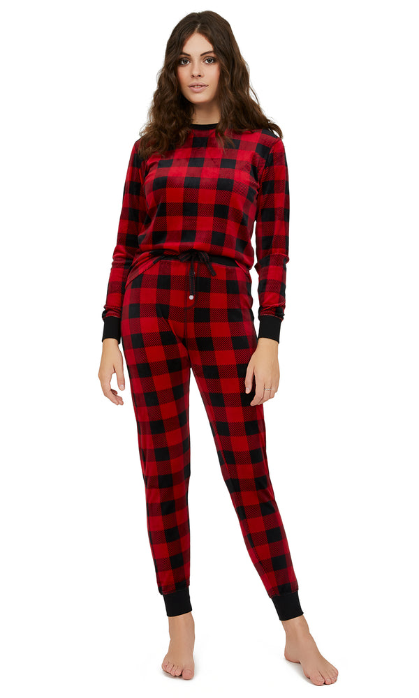 2-Piece Buffalo Check Velour Pyjama Set