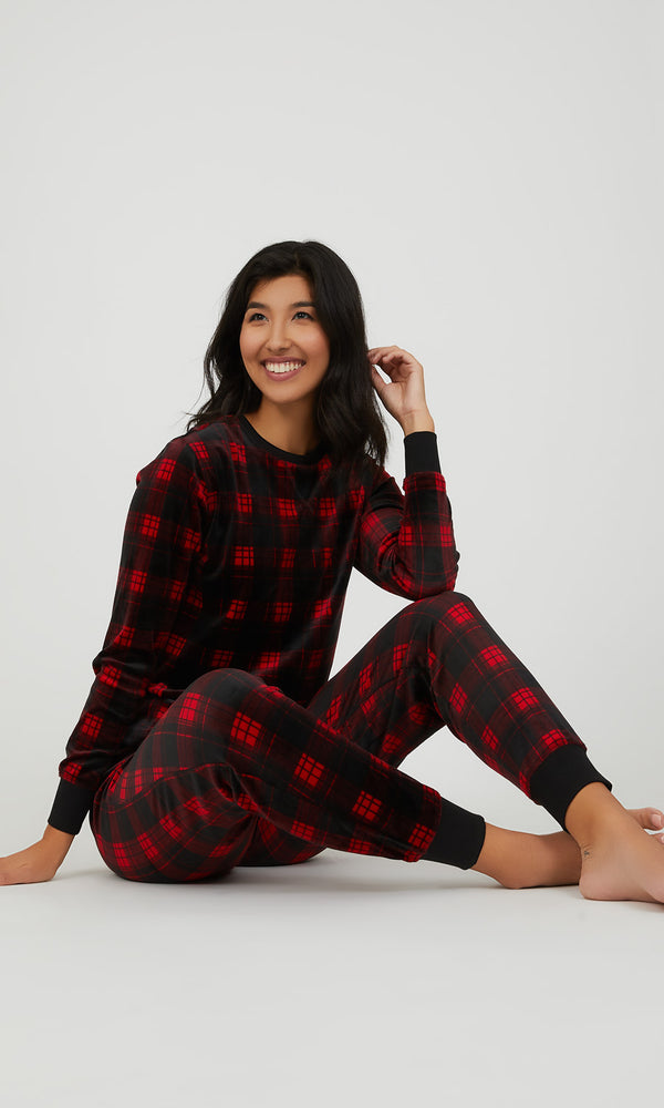 2 Piece Buffalo Check Velour Pyjama Set