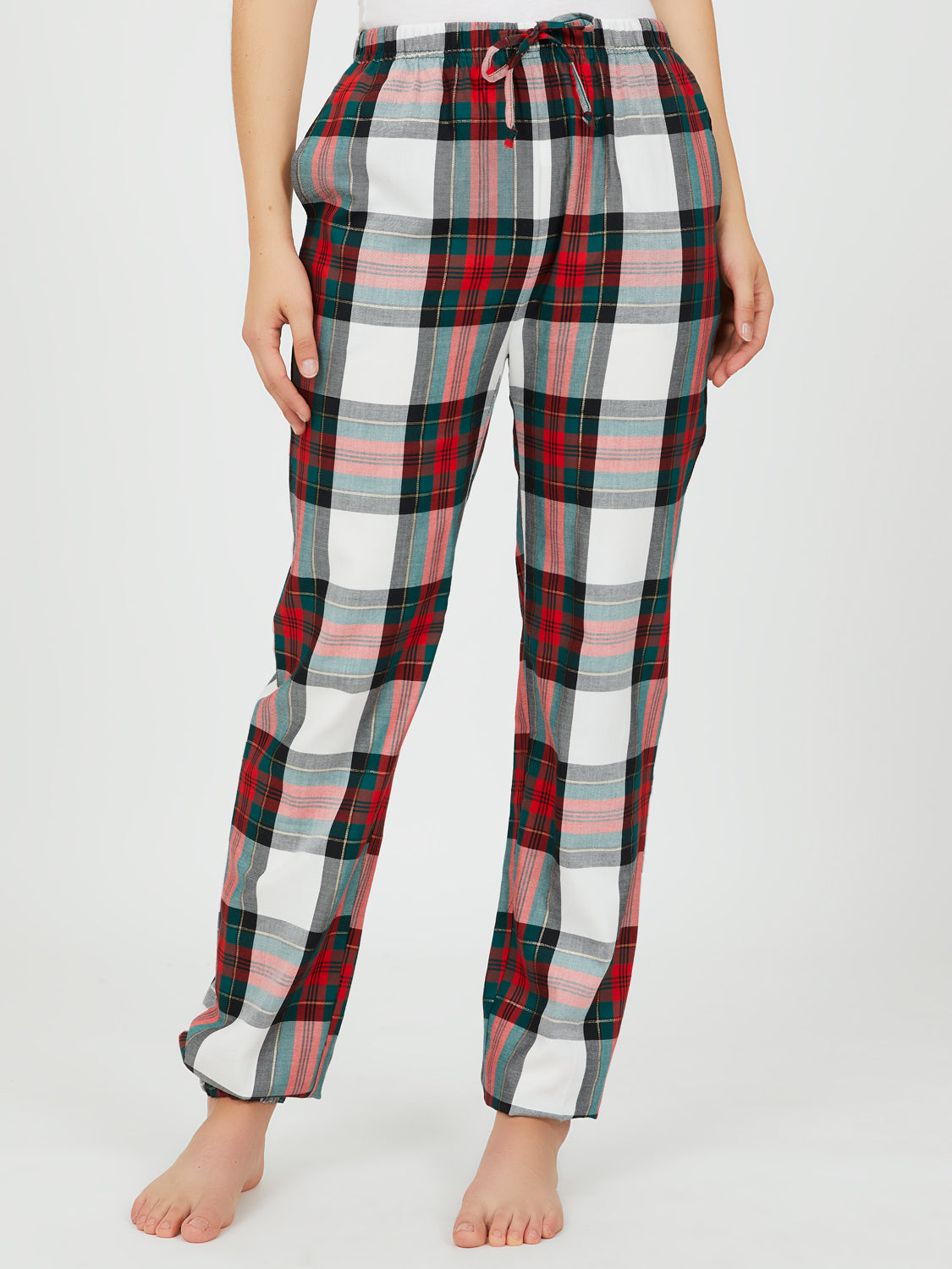 2-Piece Rib Knit Tee & Check Joggers Pyjama Set