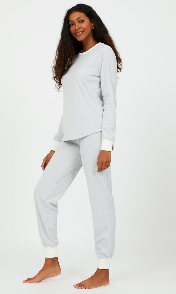 2-Piece Ribbed Velour Pyjama Set