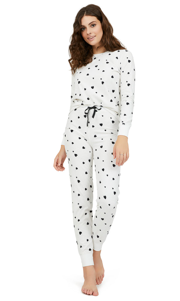2-Piece Mini Heart Waffle Velour Pyjama Set