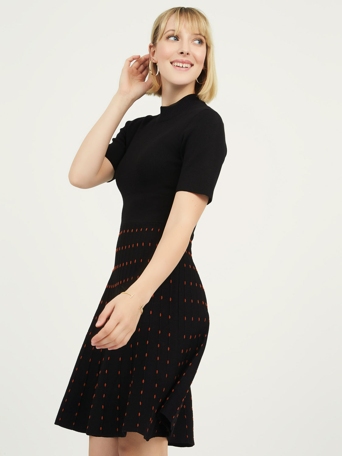 Knit Sweater Crew Neck Dress