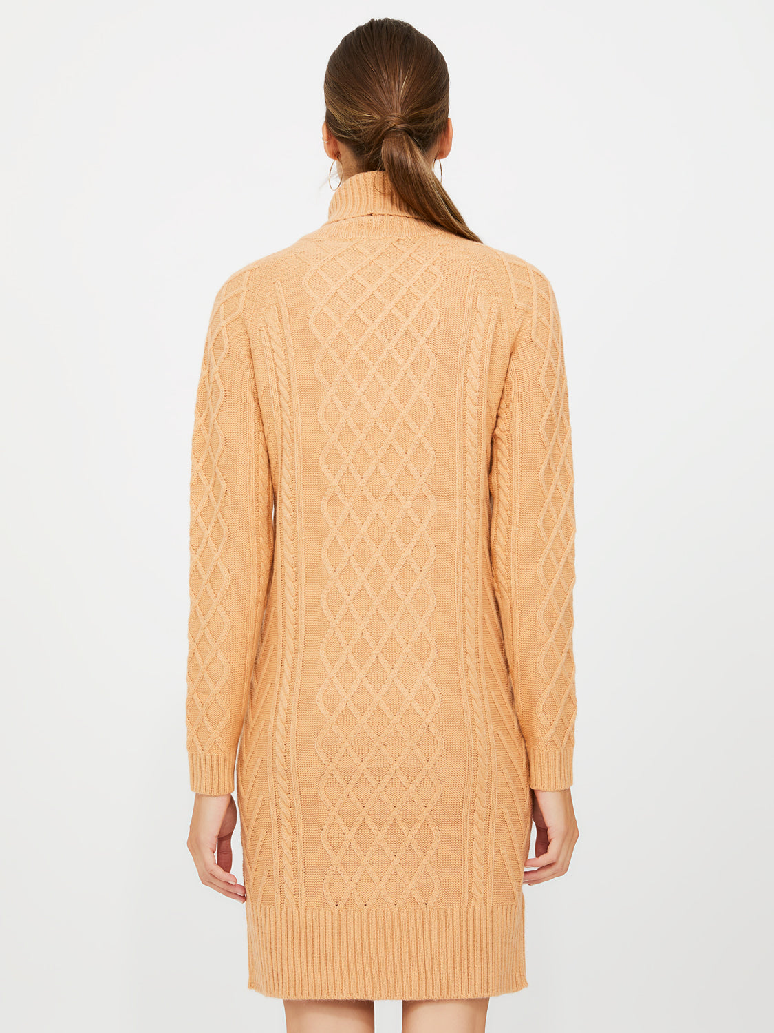 Turtleneck Cable Knit Sweater Dress