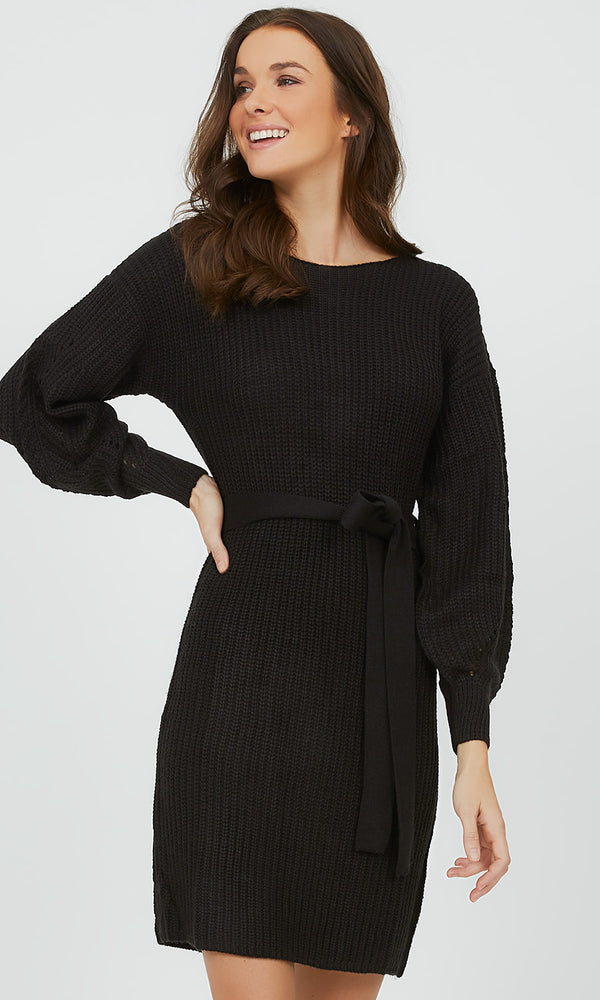 Balloon Sleeve Sweater Knit Mini Dress