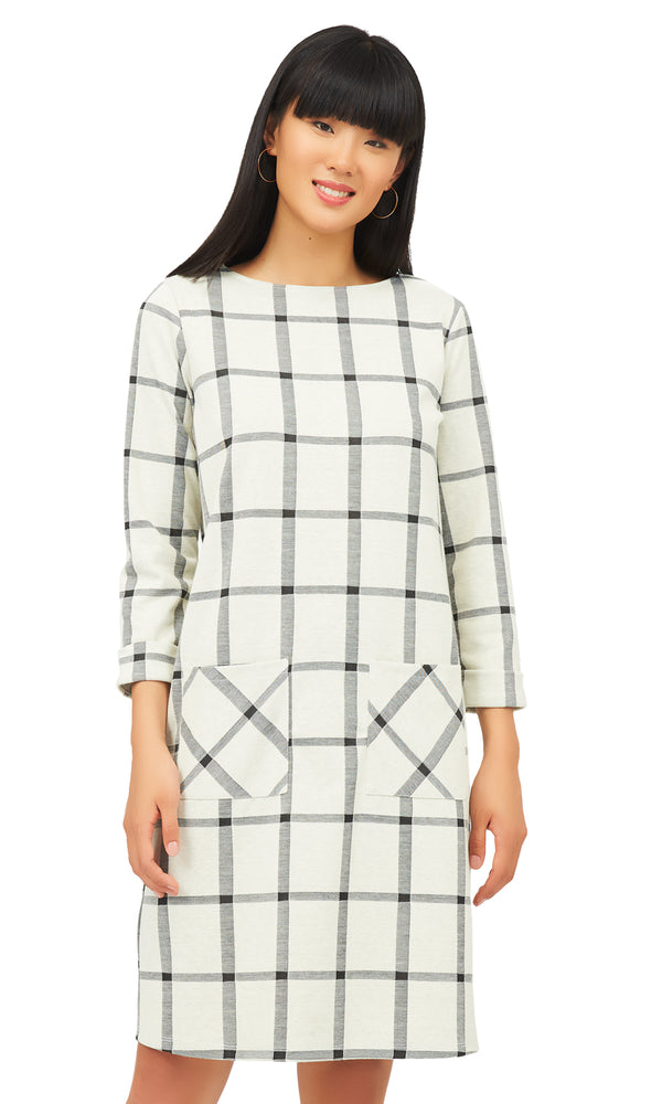 Windowpane Sheath Dress