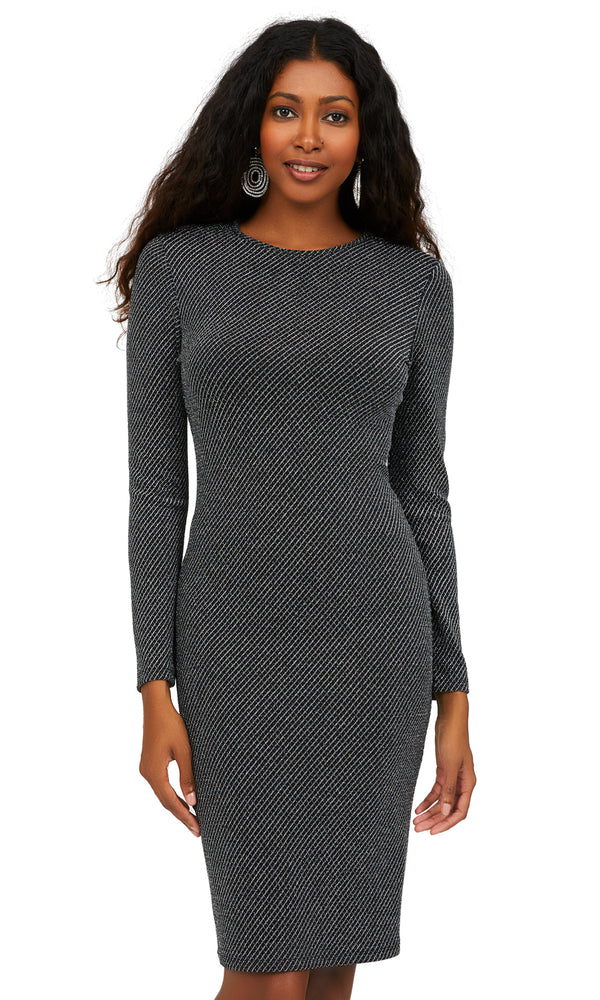 Long Sleeve Diamond Glitter Knit Sheath Dress