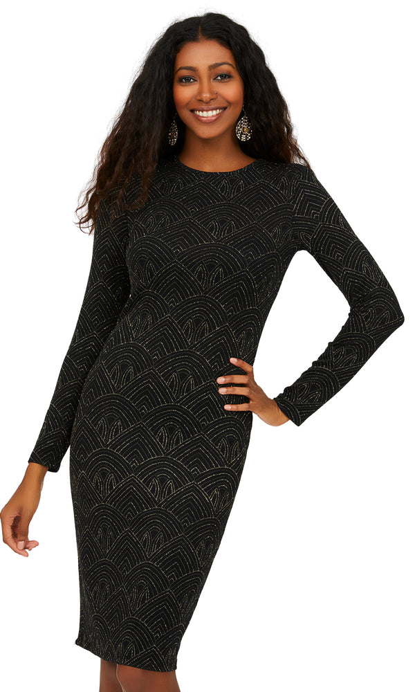 Long Sleeve Art Deco Glitter Knit Sheath Dress