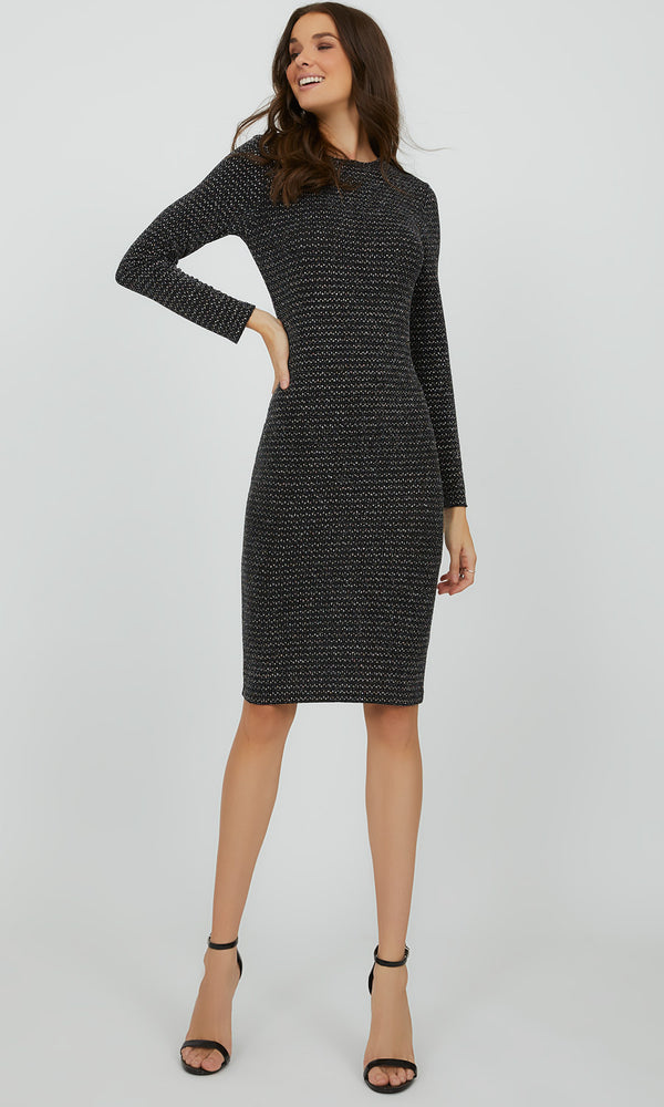 Glitter Dot Knit Midi Dress