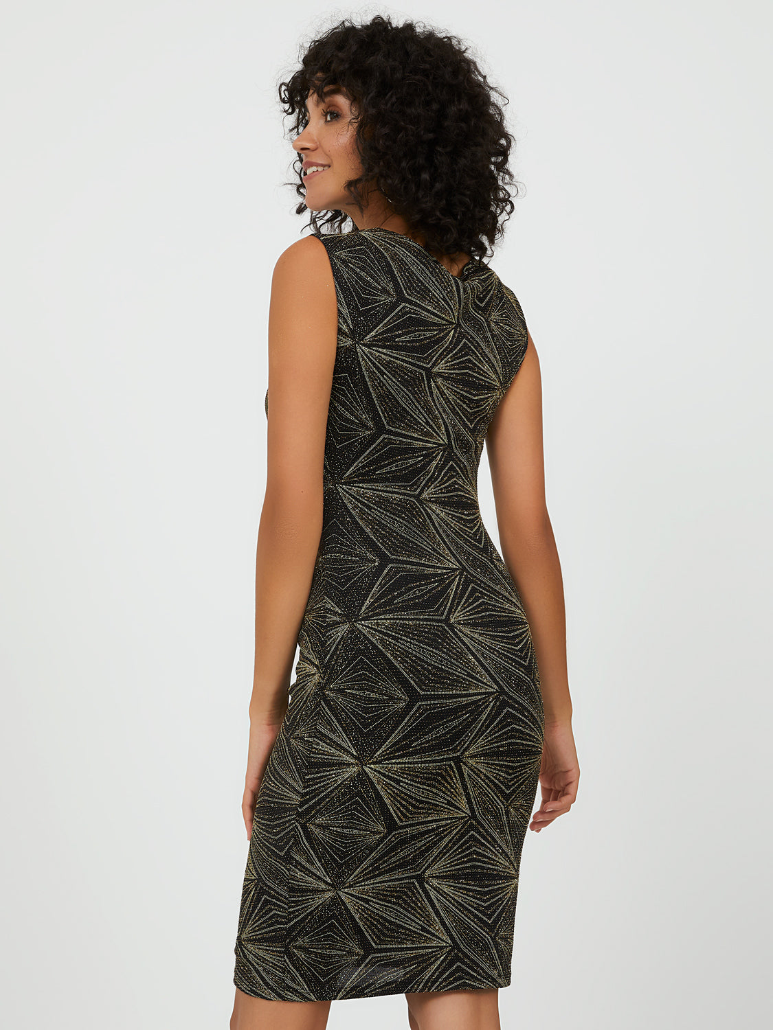 Geometric Glitter Knit Sheath Dress