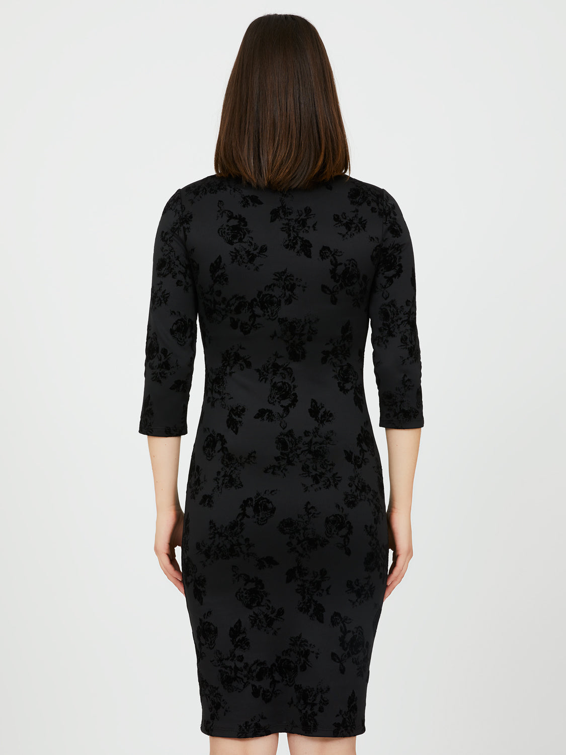 ¾ Sleeve Sheath Dress with Floral Flocking