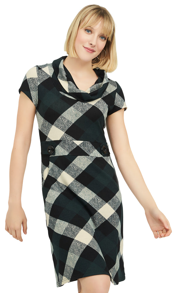 Plaid Print Sheath Dress