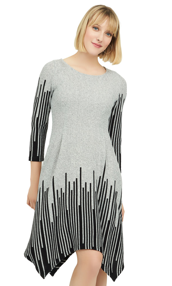 Asymmetrical Swing Dress With Striped Design