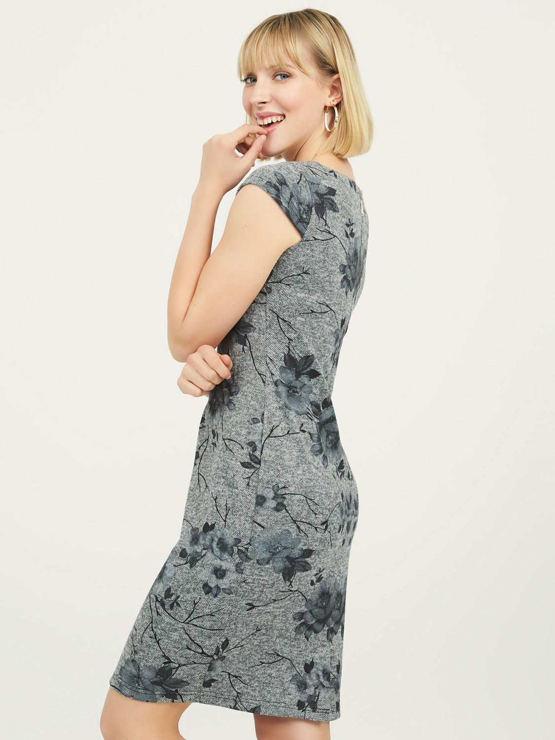 Floral Cap Sleeve Sheath Dress