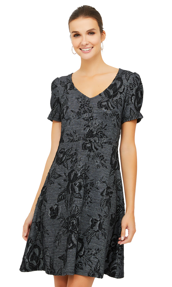 Fit & Flare Floral Jacquard Knit Dress