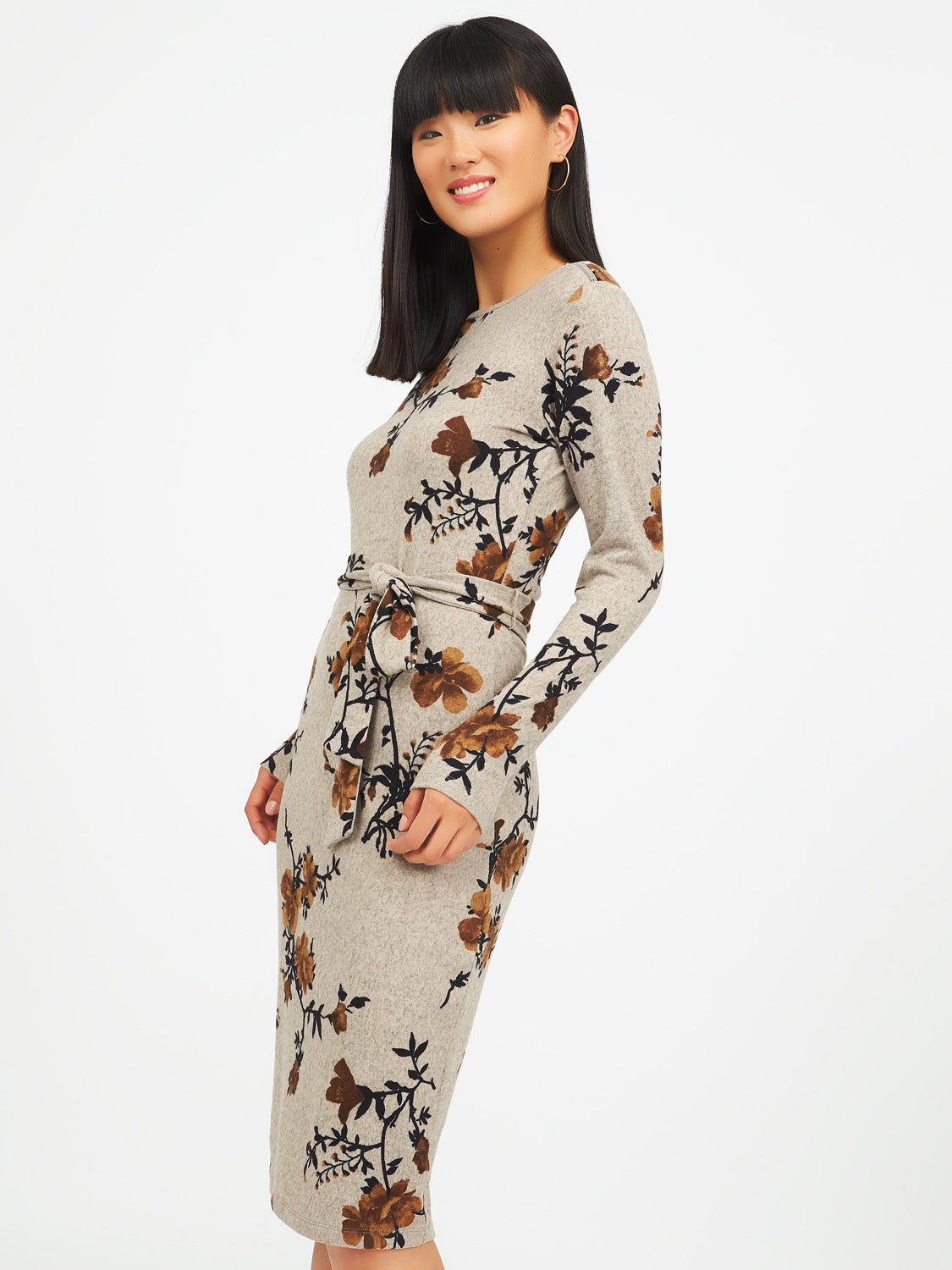 Long Sleeve Floral Sheath Dress
