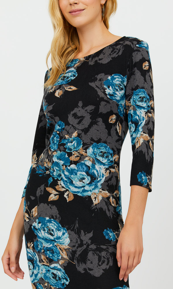 ¾ Sleeve Midi Floral Sheath Dress