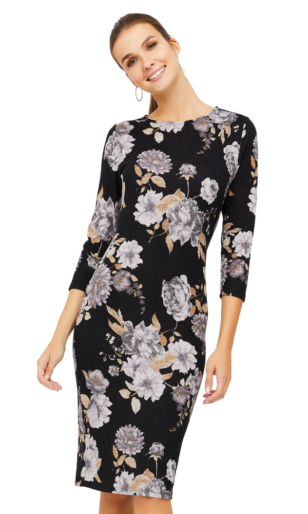 Floral ¾ Sleeve Midi Sheath Dress