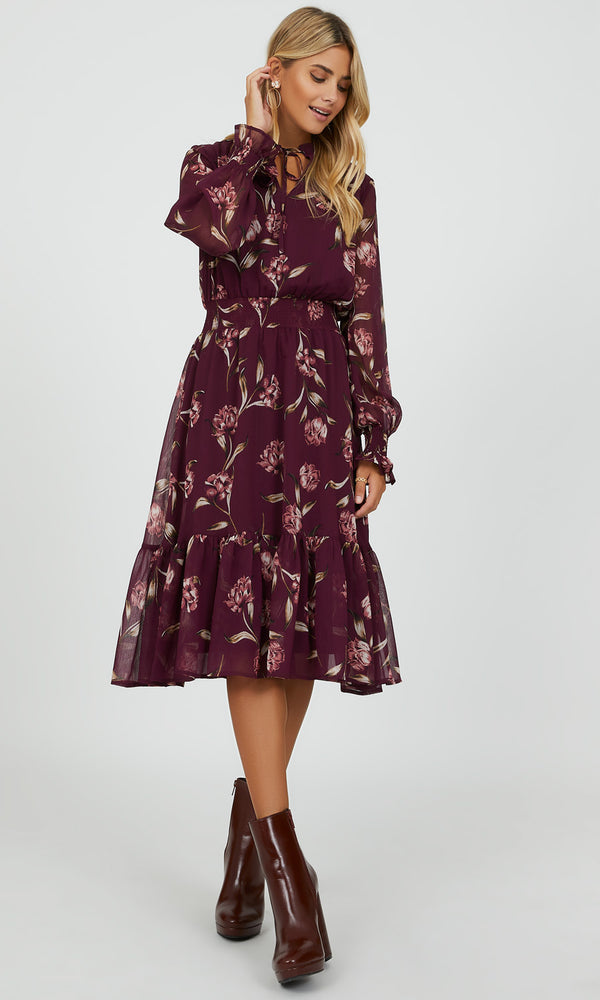 Puffy Sleeve Floral Maxi Dress