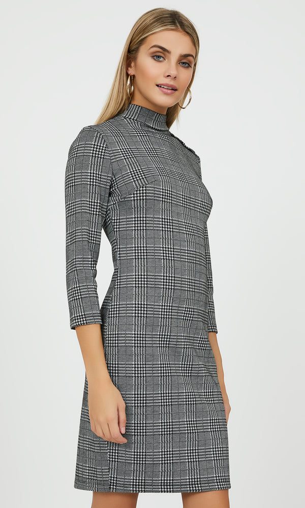 ¾ Sleeve Glencheck Plaid Sheath Dress