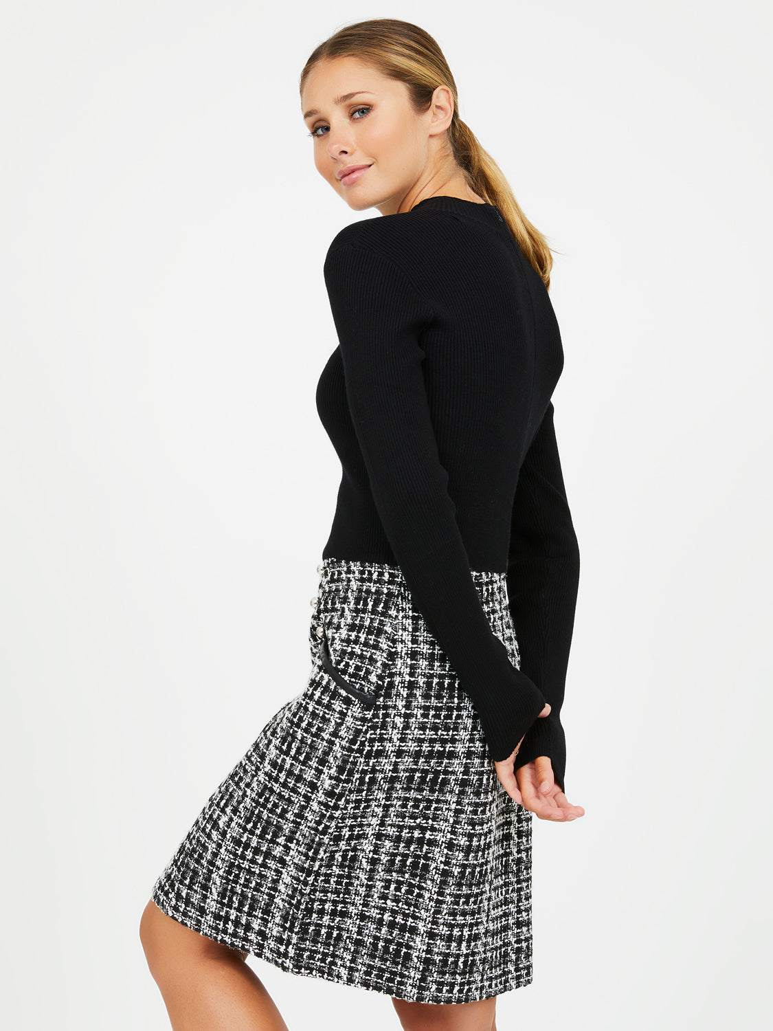 2-fer Mock Neck Rib Knit Dress