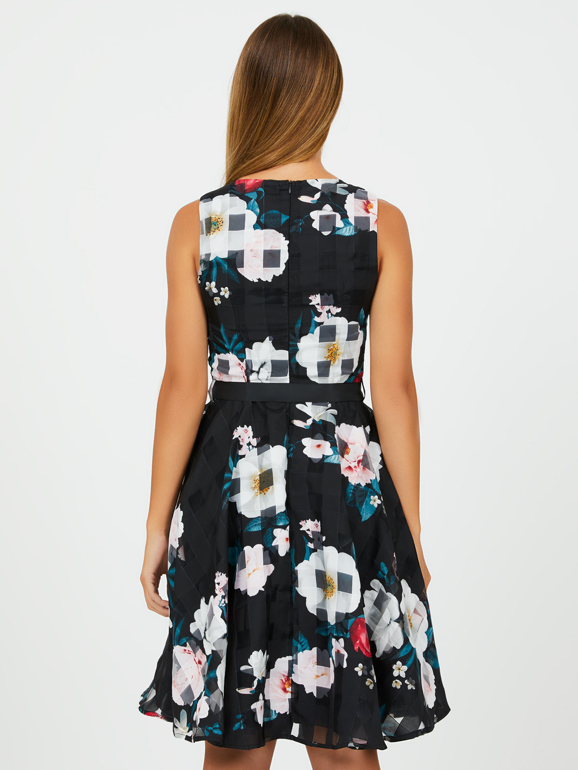 Shadow Floral Print Fit & Flare Dress