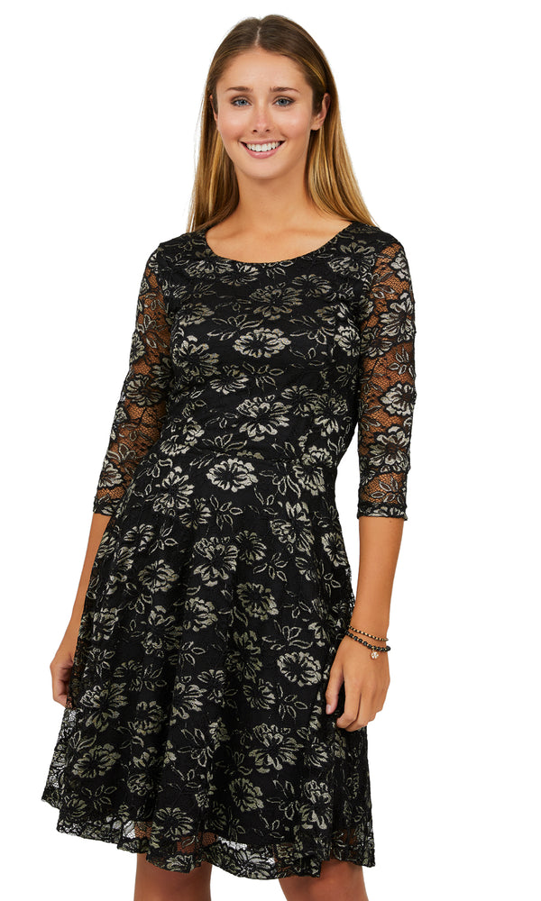¾ Sleeved Round Neck Fit & Flare Dress