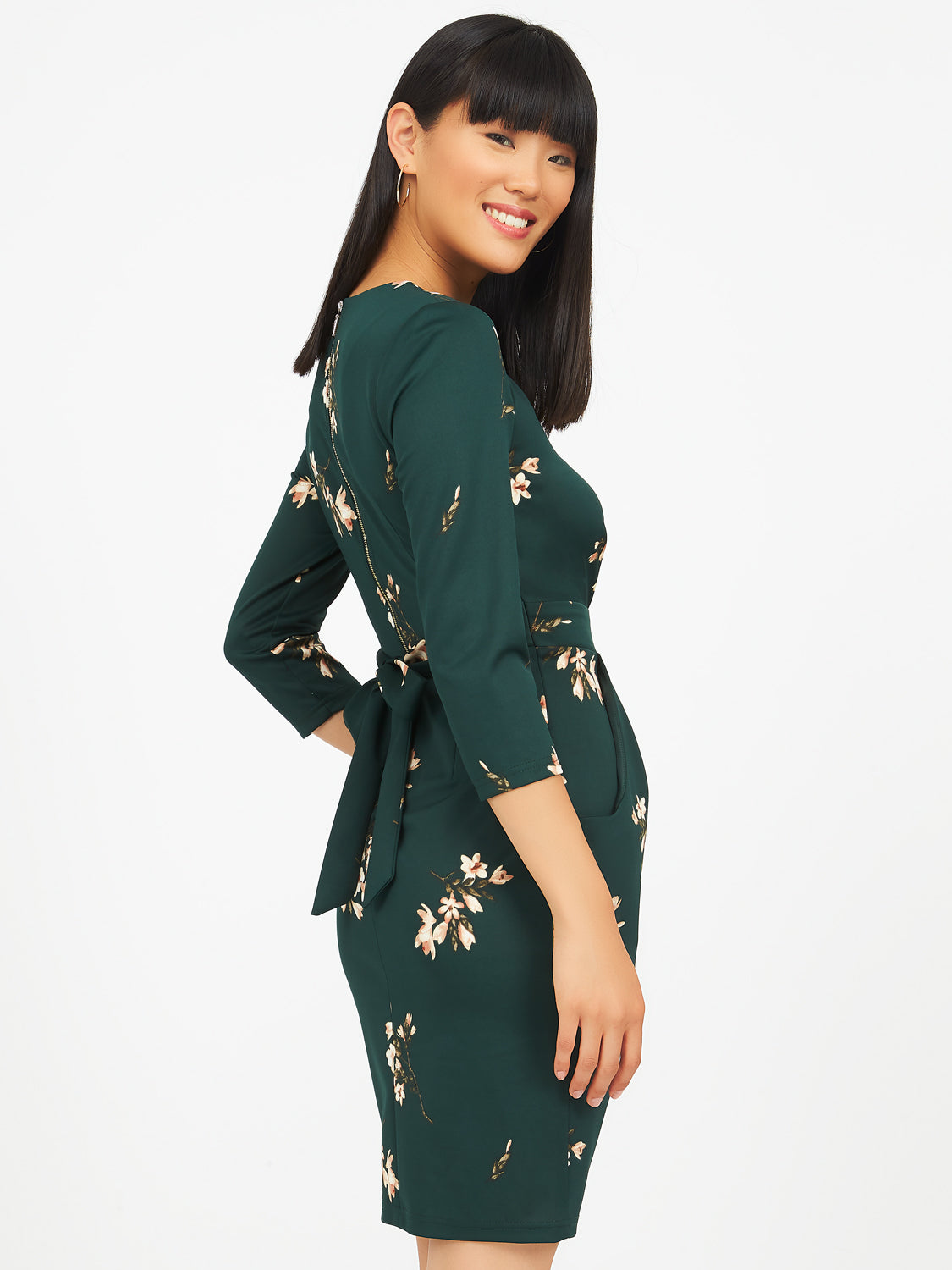 Floral Sheath Dress With Boat Neck
