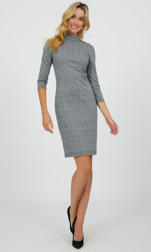 Glen Plaid Mini Sheath Dress