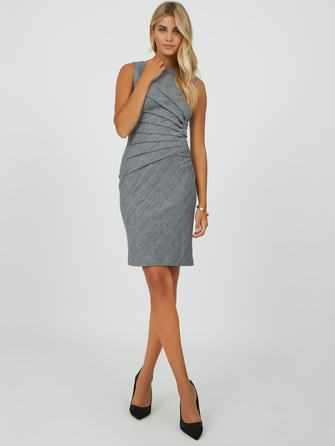 Sleeveless Glen Plaid Sheath Mini Dress