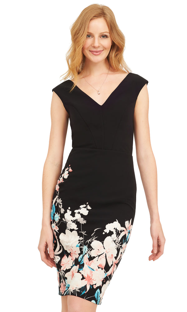 Floral V-Front Sheath Dress