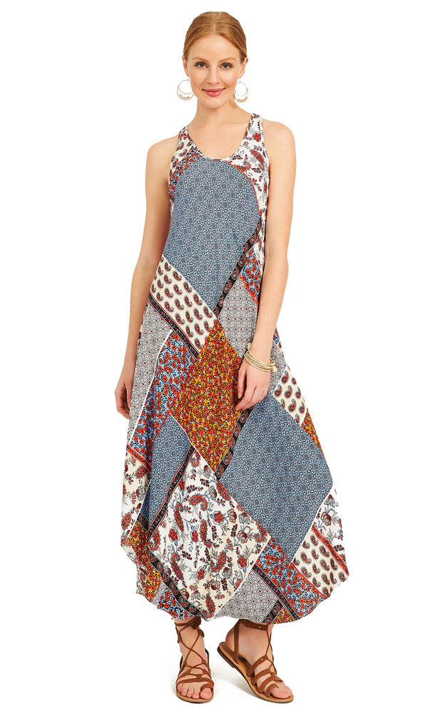 Scoop Neck Patchwork Print Midi Dress