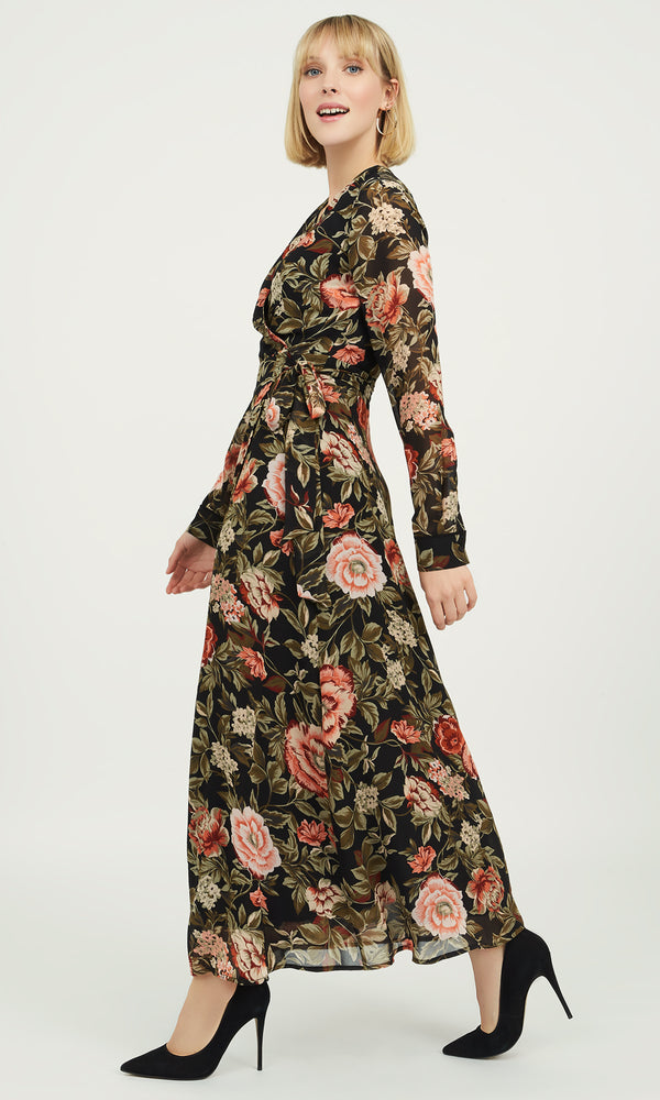 Long Sleeve Floral Chiffon Dress