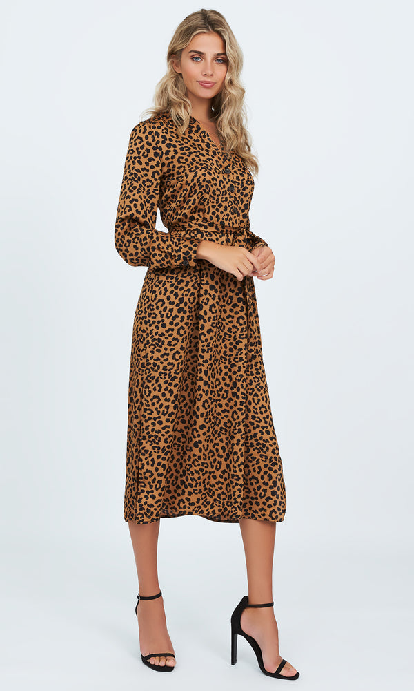 Animal Print Belted Shirtdress