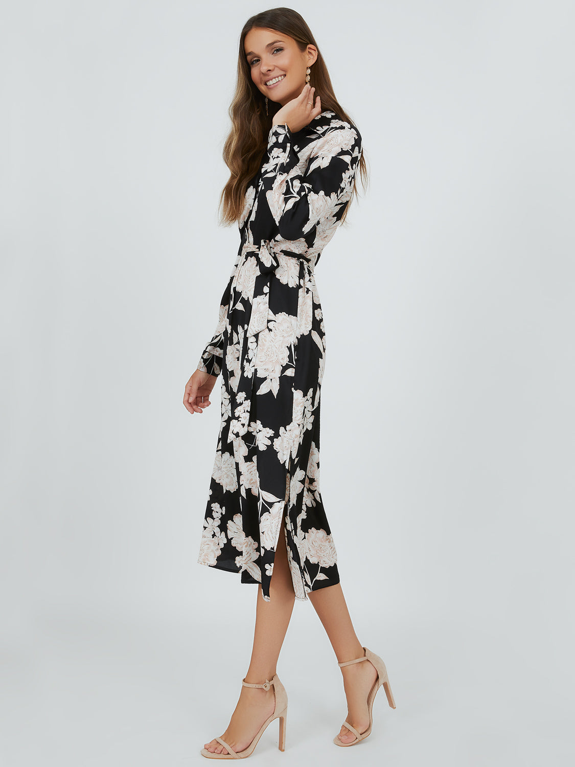 Sash-Tie Floral Midi Dress