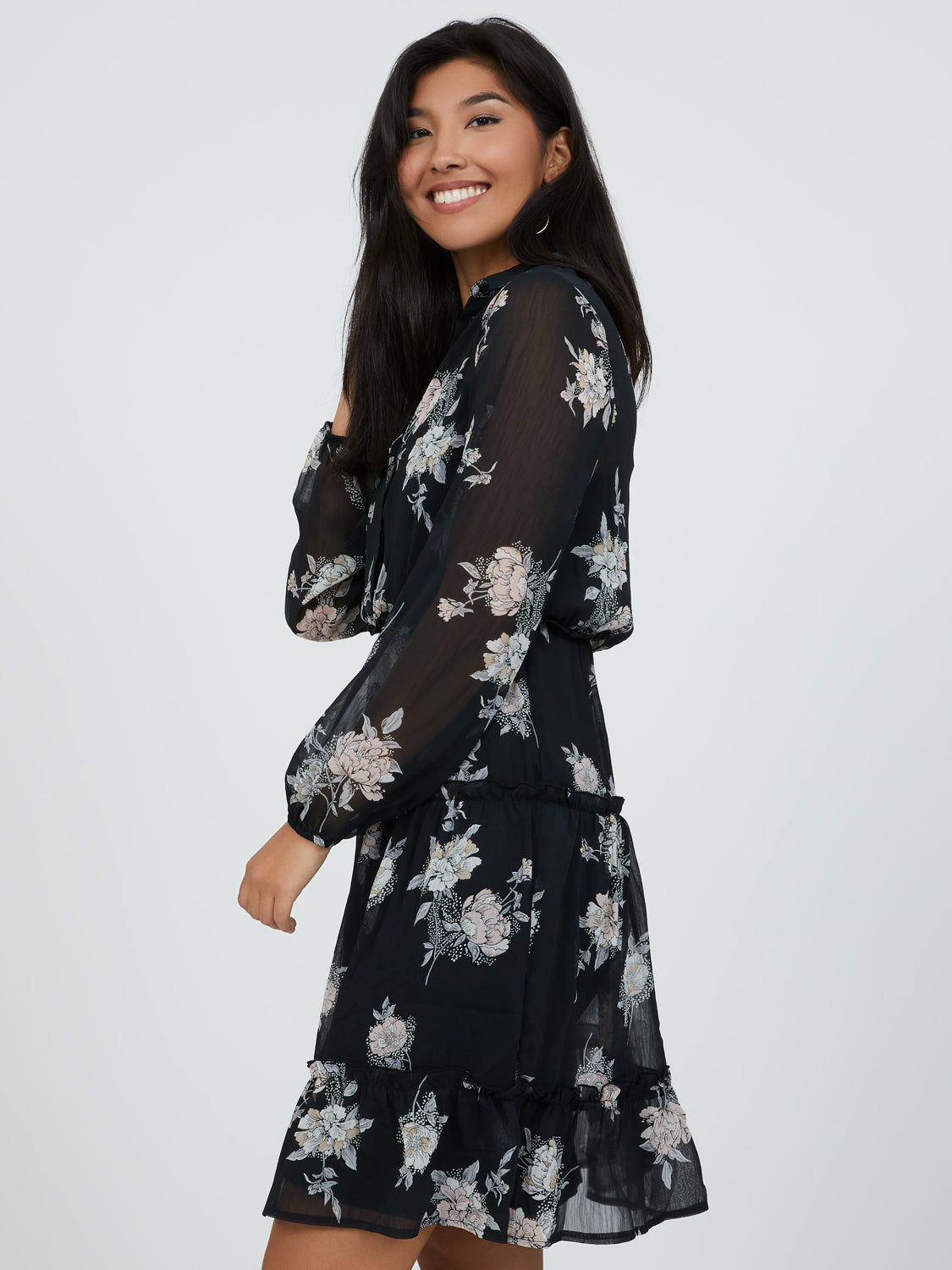 Sweet Floral Mini Shirt Dress