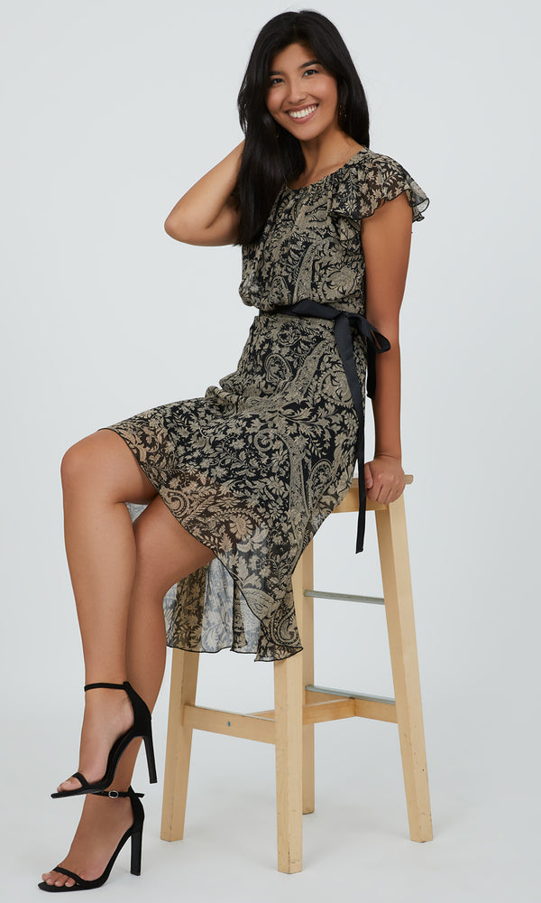 Paisley Flare Sleeve High Low Dress